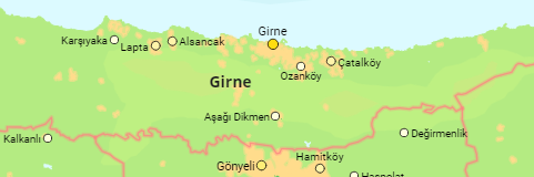 Northern Cyprus Districts and Major Places
