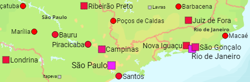 Brazil States and Major Cities