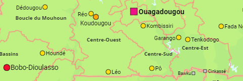 Burkina Faso Regions and Cities