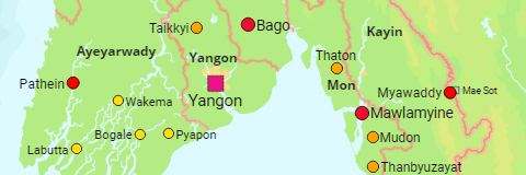 Myanmar Regions, States and Cities