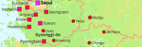 South Korea Provinces and Cities