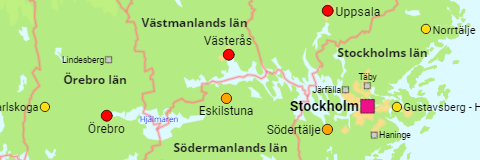 Sweden Major Localities