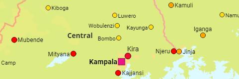 Uganda: Regions, Districts, Cities, Towns - Population Statistics in